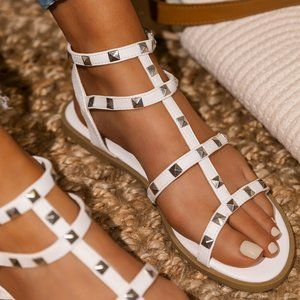 NEW🔥 Strappy Spike Stud Ankle Strap Caged Sandal